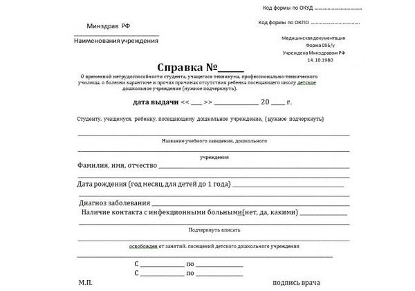 Справка формы 095/у